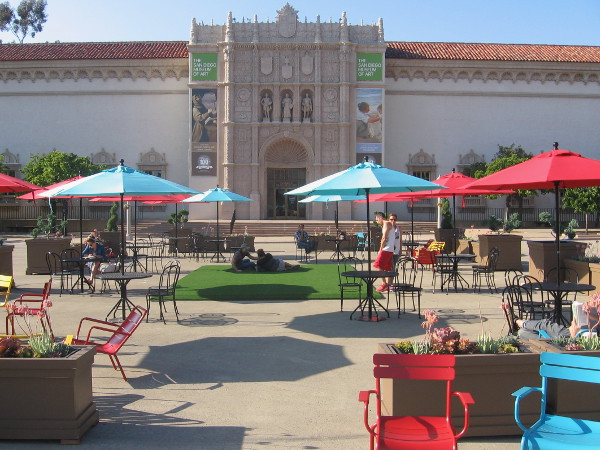 Colorful umbrellas, chairs, benches, more tables, planters and even a patch of green have been added to the Plaza de Panama.
