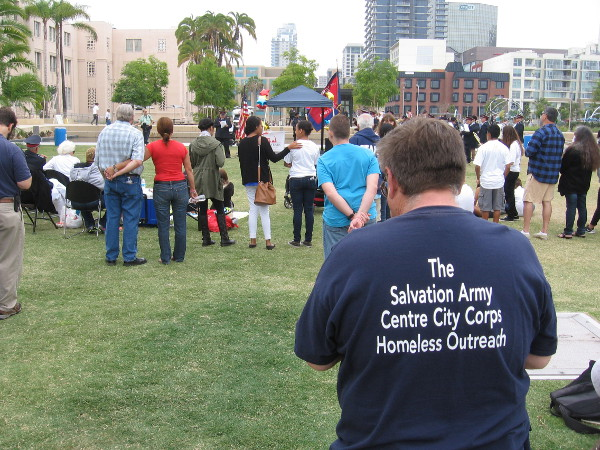 A speech kicks off the event. The Salvation Army helps the homeless, the poor, the suffering around the world.