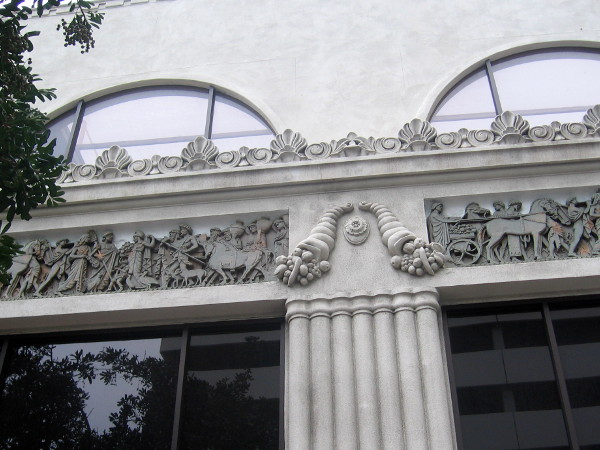 Classic figures in a frieze on a building at the corner of Seventh and C Street. The cool Computer Museum of America used to be here.