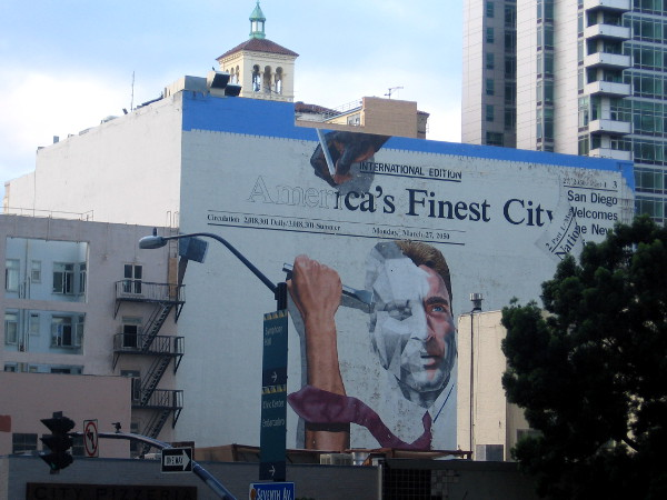 View of the iconic America's Finest City mural from a spot on Seventh Avenue.