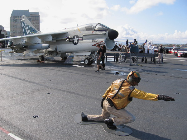 A photo from the flight deck of the USS Midway. The historic aircraft carrier is used for many military ceremonies in San Diego.