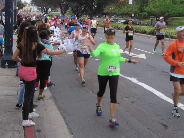 Mickey hands greet runners at the 2015 San Diego Rock 'n Roll Marathon.