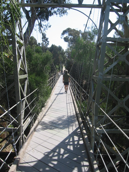 The swaying suspension bridge is a unique, historic structure just north of downtown San Diego.
