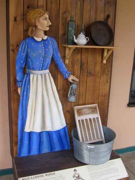 The few women in Old Town had more opportunities to earn money than in the Eastern U.S. They did traditional work--laundry, baking, cooking, sewing, tending to children and livestock.