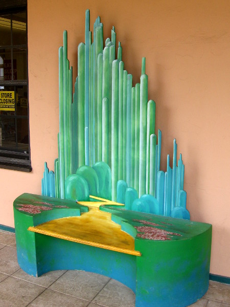 Check out this Yellow Brick Road to Emerald City bench, straight from the Wizard of Oz!
