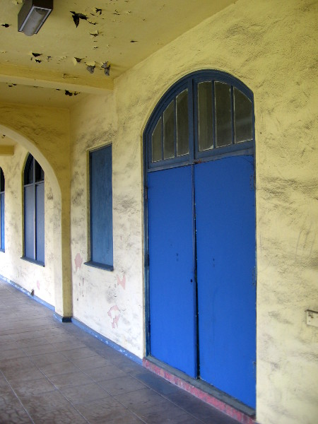 This boldly painted blue door really catches the eye!