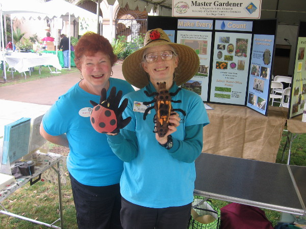 These master gardeners showed me what a ladybird larva looks like! (It's the critter on the right.)