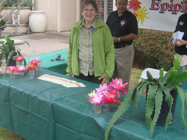 Smiling lady from the San Diego Epiphyllum Society.