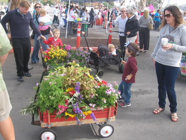 The floral wagon parade staged in a parking lot by the Balboa Park carousel.
