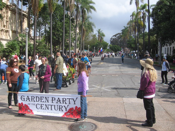 The Garden Party of the Century Parade is underway and turning onto El Prado!