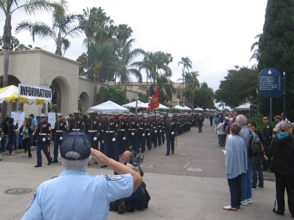 A second parade nears! Marines from San Diego's MCRD march down El Prado for a special historic ceremony.