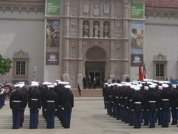 Marines stand at attention before San Diego mayor, MCRD commandant and other dignitaries speak during the special Balboa Park Centennial event.
