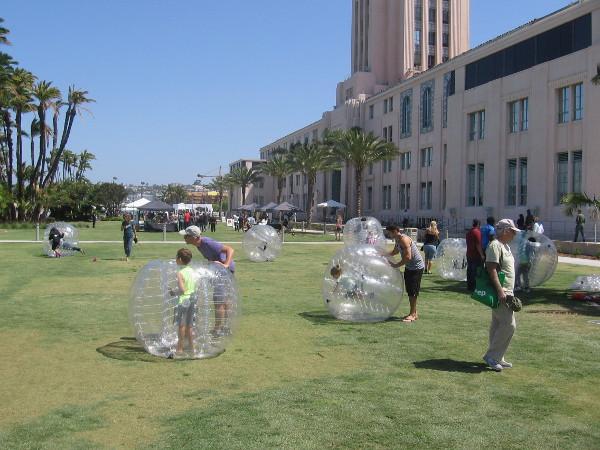 It looks like a bunch of kids were put in huge hamster balls.