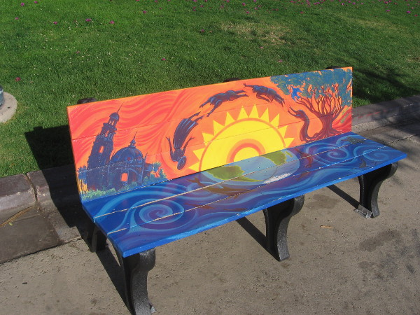 This cool new art bench on the east side of the plaza includes an image from Balboa Park.