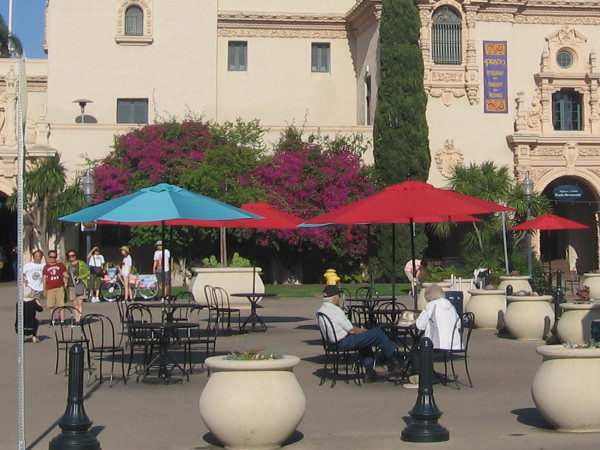 The Plaza de Panama in Balboa Park is a place to talk, read, enjoy, eat, relax.
