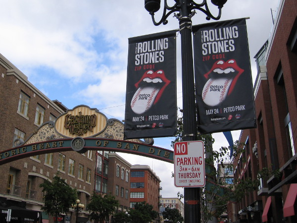 Rolling Stones graphic includes a baseball-like tongue! Also visible in this photo is San Diego's landmark Gaslamp Quarter sign.