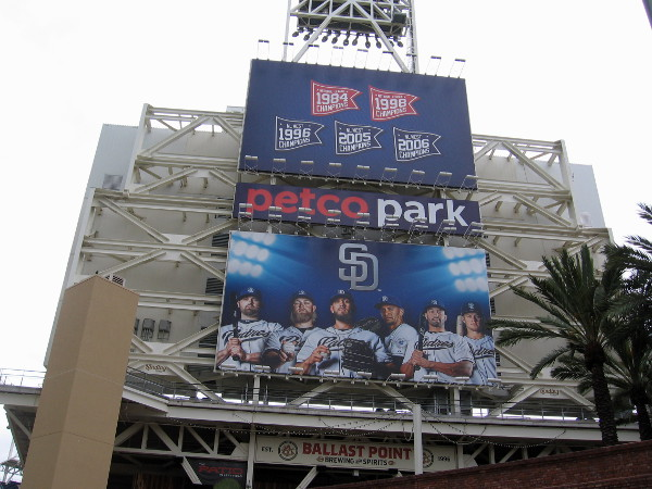 Seventh Avenue has turned into Tony Gwynn Drive. With the new Padres baseball season, brand new graphics have appeared on the sign behind Petco Park's big videoboard.