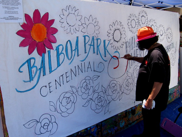 Mural being painted for the Balboa Park Centennial 2015 Philippine American Celebration.