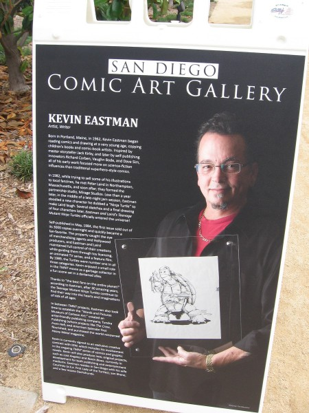 Kevin Eastman began reading comics and drawing at a very young age. Major influences include Jack Kirby and science fiction. He created a character named Ninja Turtle just for fun.