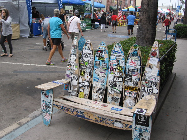 Cool skateboard bench by the 36th Annual Ocean Beach Street Fair and Chili Cook-Off Festival on Newport Avenue.