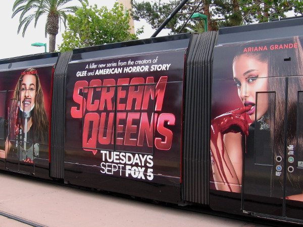 A cool San Diego trolley wrap for 2015 Comic-Con promotes Scream Queens on Fox. A killer new series from the creators of Glee and American Horror Story.