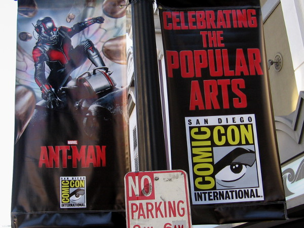 Ant-Man banners in downtown San Diego decorate street lamps for 2015 Comic-Con. The tiny Marvel superhero better not park here!