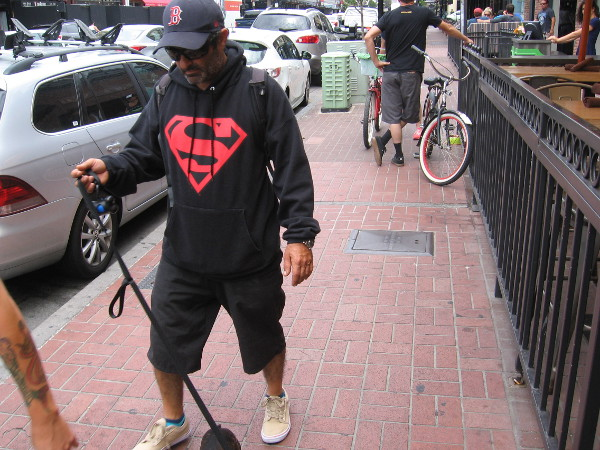 Superman was spotted walking through the Gaslamp two weeks before San Diego Comic-Con!