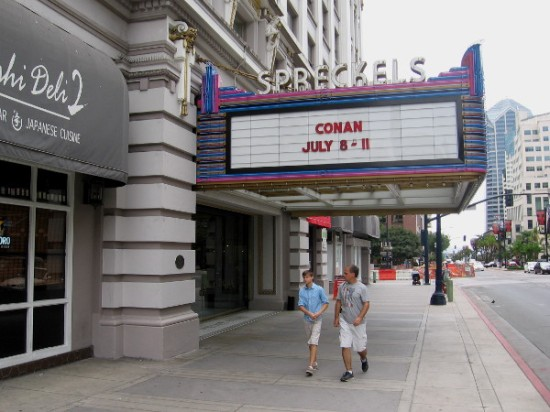 Conan O'Brien Live at 2015 San Diego Comic-Con, advertised on marquee of the Spreckels Theater Building in downtown San Diego.