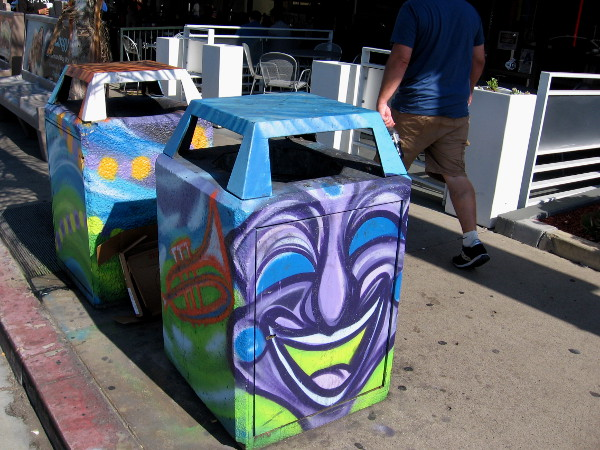 Dozens of trashcans on the streets of Hillcrest have been painted by local artists.