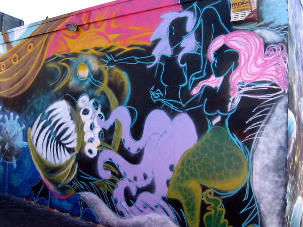Mermaids are one element in cool street art on wall of The Merrow.