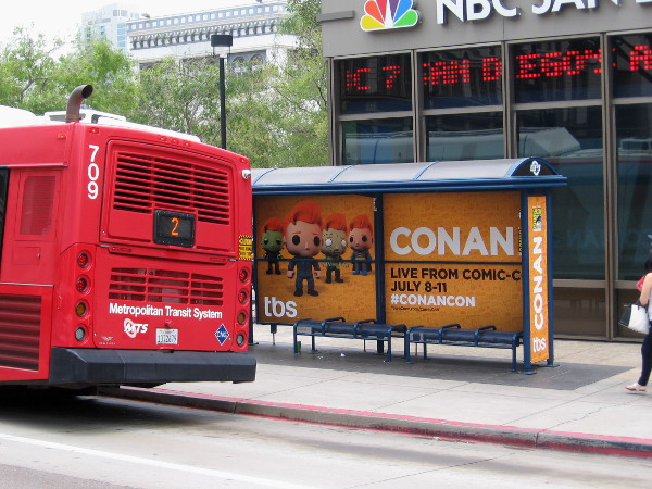 It's rumored that Conan O'Brien, who now possesses vast powers, will once again boldly address The People of Earth from this bus stop next to the NBC building.