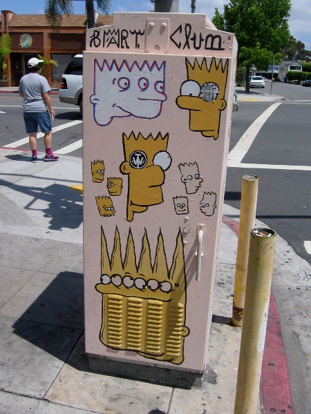 Bart Simpson takes many strange forms on one sidewalk in North Park. He's elongated at times, or has multiple eyes.