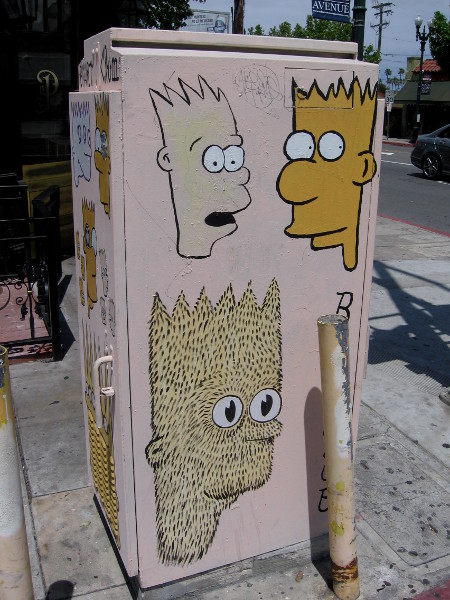This side of the fun Bart Club utility box has the funny cartoon character's face in need of a shave!