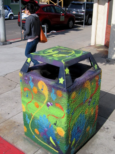 Creative trashcan art adds fun to hillcrest streets for Creative art from waste
