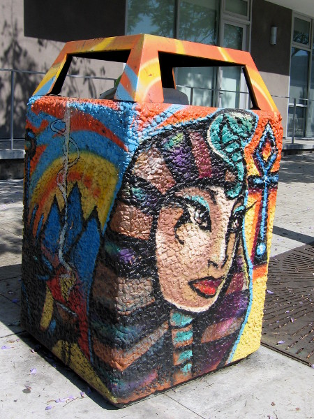 Female face with Pharoah mask was painted by a local artist on Park Boulevard.