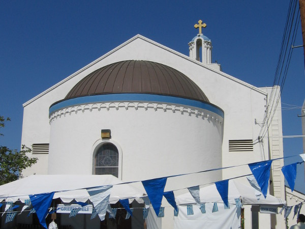 Looking up at the church from the parking lot behind it, where the festival is held each year.