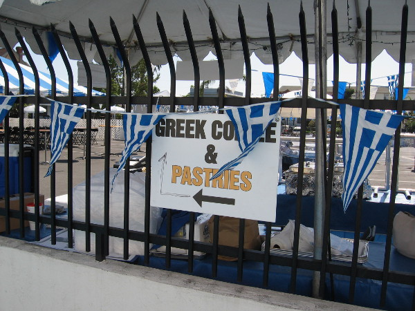 Lots of people will be following the arrow to Greek coffee and pastries.