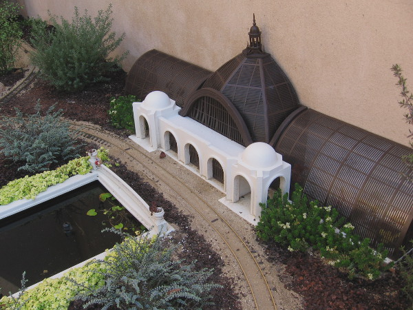 The Centennial Railway Garden also includes a model of Balboa Park's Botanical Building and nearby reflecting pool!