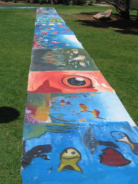Small segment of the amazing seven kilometer long Fishes of the Ocean painting.