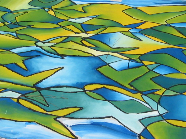 Abstract fish forms swim in a school on a very large canvas.