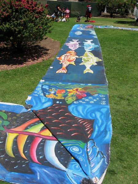 The long strip of fun art zigzagged across the grass near the International Cottages.