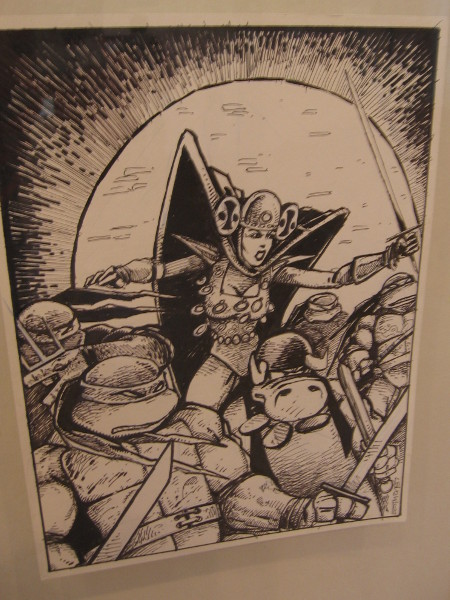 Inked panel is one sample of the fun TMNT artwork on display at the Kevin Eastman exhibition.