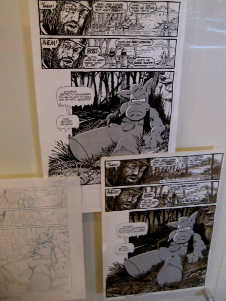 From sketch to finished page, visitors to the gallery can view a comic book's creative process.