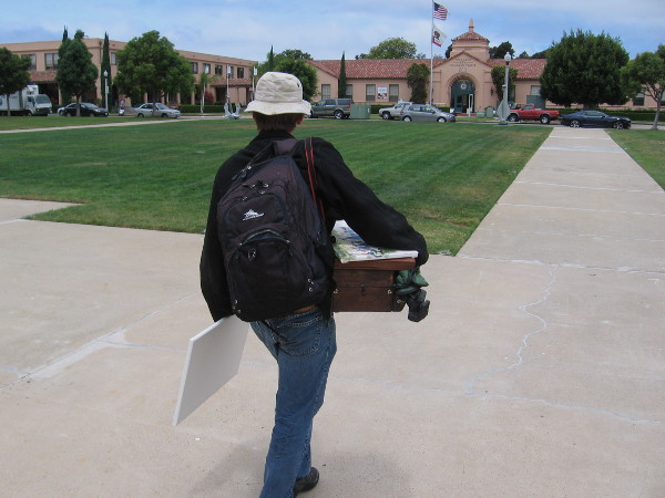 Another member of the San Diego Watercolor Society walks toward the old Command Center on a perfect Saturday.