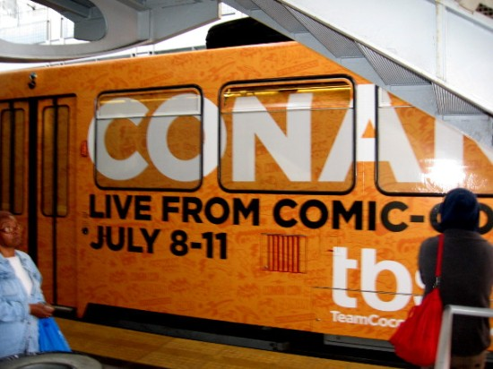 Here's a wrap on an older version San Diego trolley at America Plaza. Conan will be live from Comic-Con July 8-11.