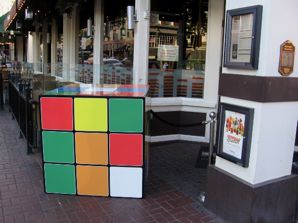 A bar called Analog in the Gaslamp had a huge (non-digital) Rubik's Cube out on the sidewalk! The security guard said it's there just for fun!