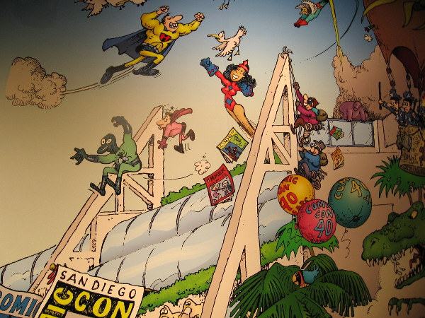 Superheroes are swinging and flying all over the place!