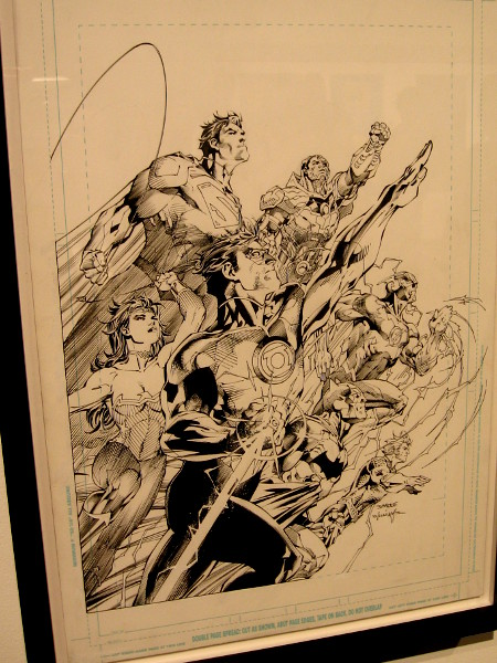 The Justice League flies into action in this original 2011 cover art from fan favorite Jim Lee.