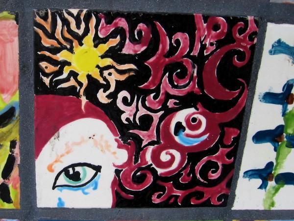 Another eye on a fiery, dazzling art tile.