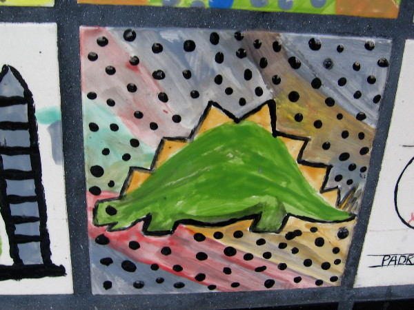 A dinosaur among dots.